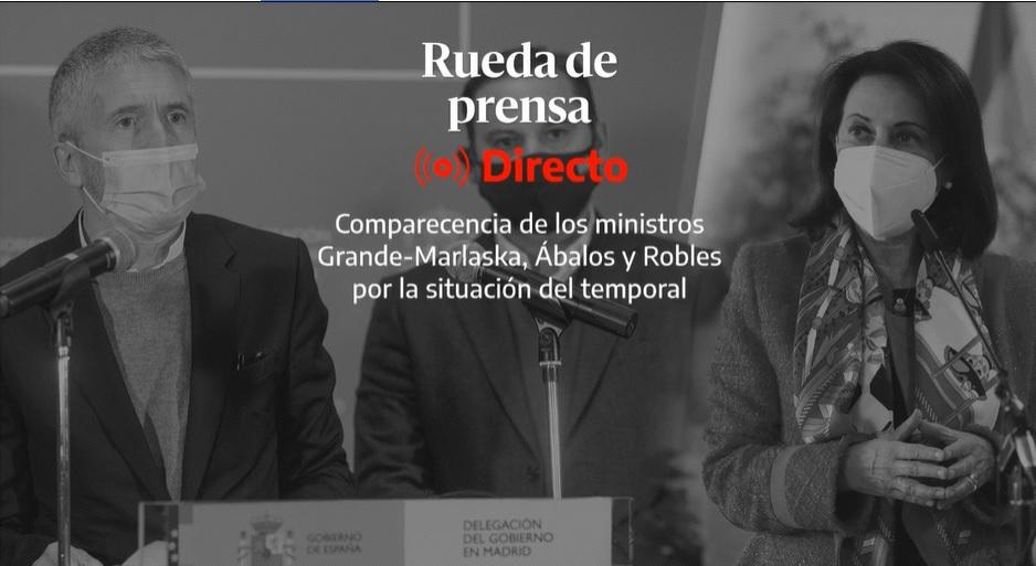 Persconferentie Spaanse Ministers extreme weersomstandigheden 11/1/21